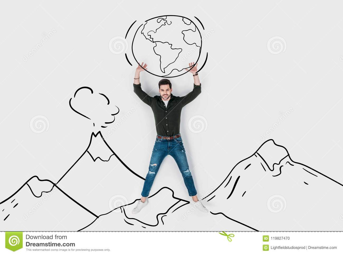 creative hand drawn collage with strong man carrying earth stock