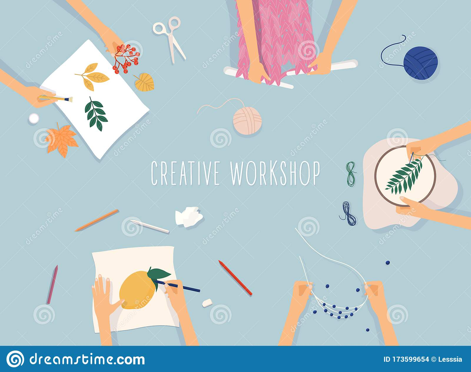 Creative Handmade Workshop Banner Drawing Beadwork Embroidering Knitting Scrapbooking Stock Vector Illustration Of Colorful Design 173599654