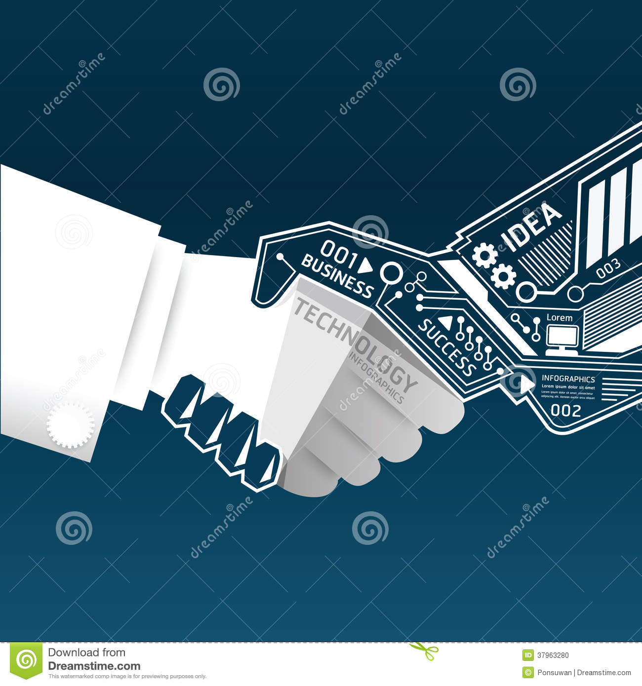 Creative Handshake Abstract Circuit Technology Inf Stock ... Public Policy Symbol