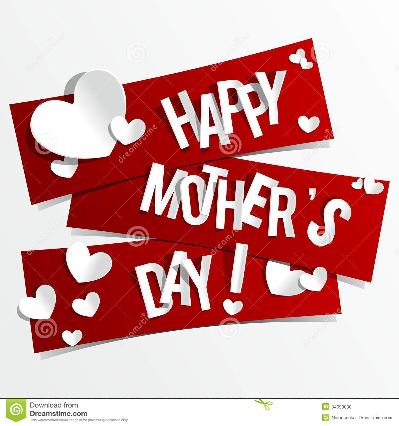 Creative Happy Mothers Day Card With Hearts On Rib Stock Photo - Image ...