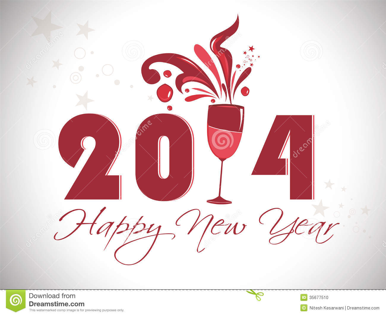 creative happy new year 2014 design with champagne glasses celebration party poster banner or