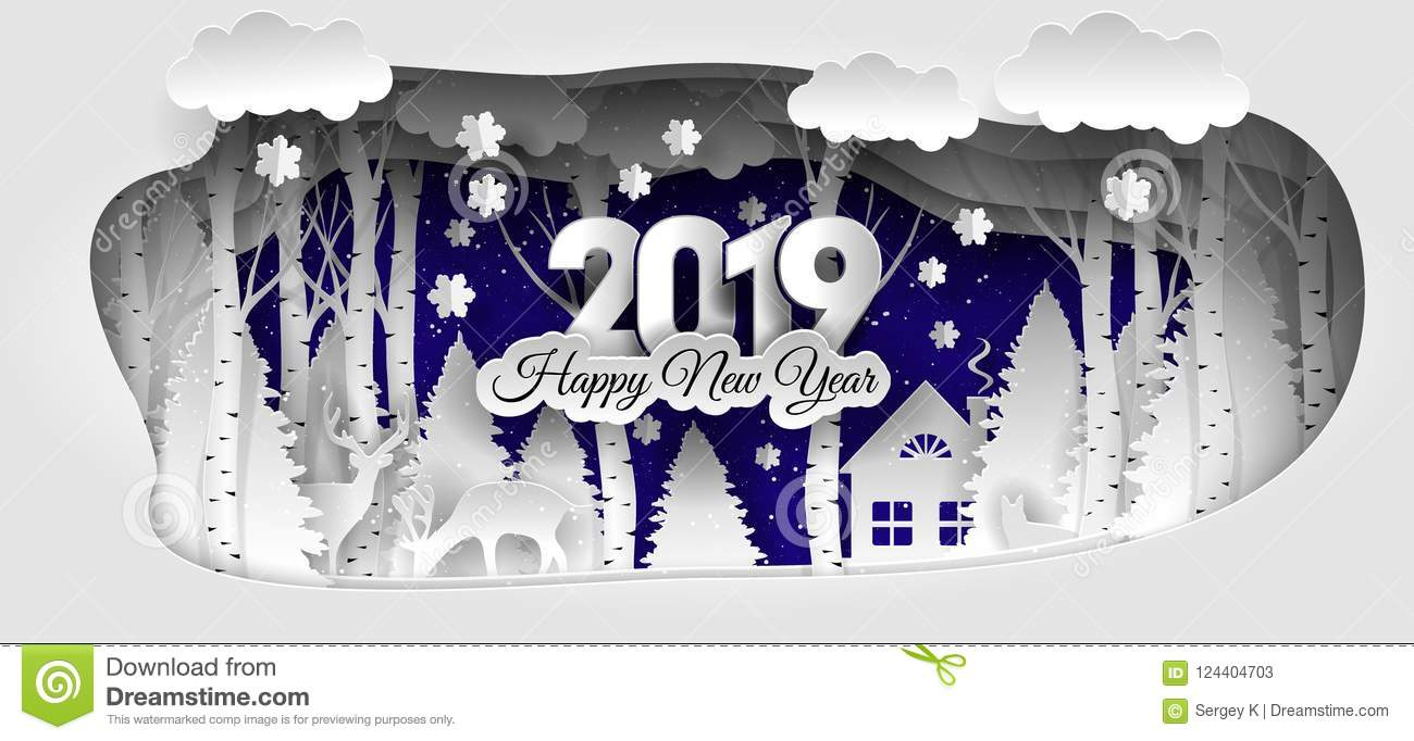 Happy 2019 >> Creative Happy New Year 2019 Design Winter Forest Happy New Year