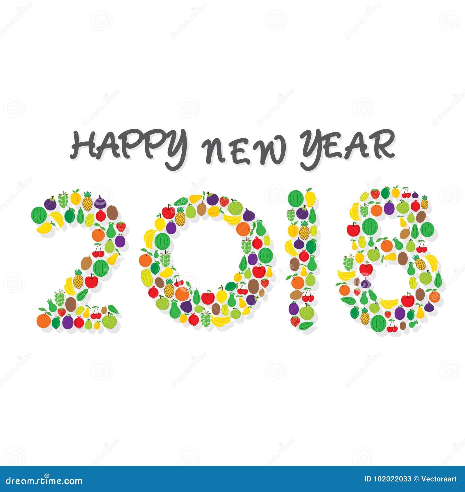 Creative Happy New Year 2018 Poster Design Using Brush Stock Vector ...