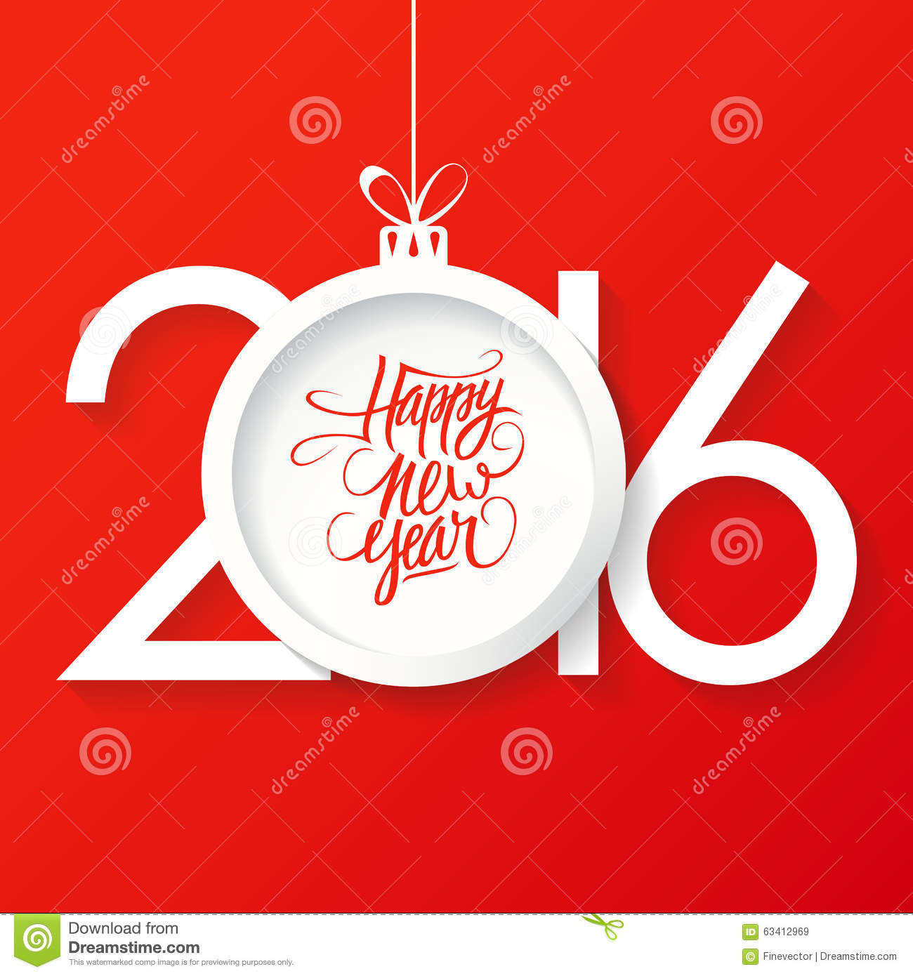 Creative happy new year 2016 text design with christmas for New farnichar design 2016