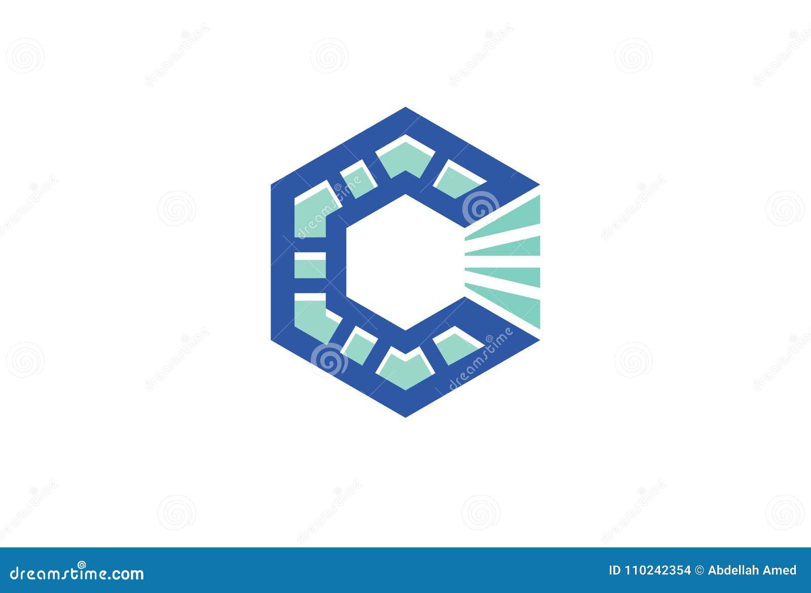Creative Hexagonal C Letter Logo Stock Vector Illustration