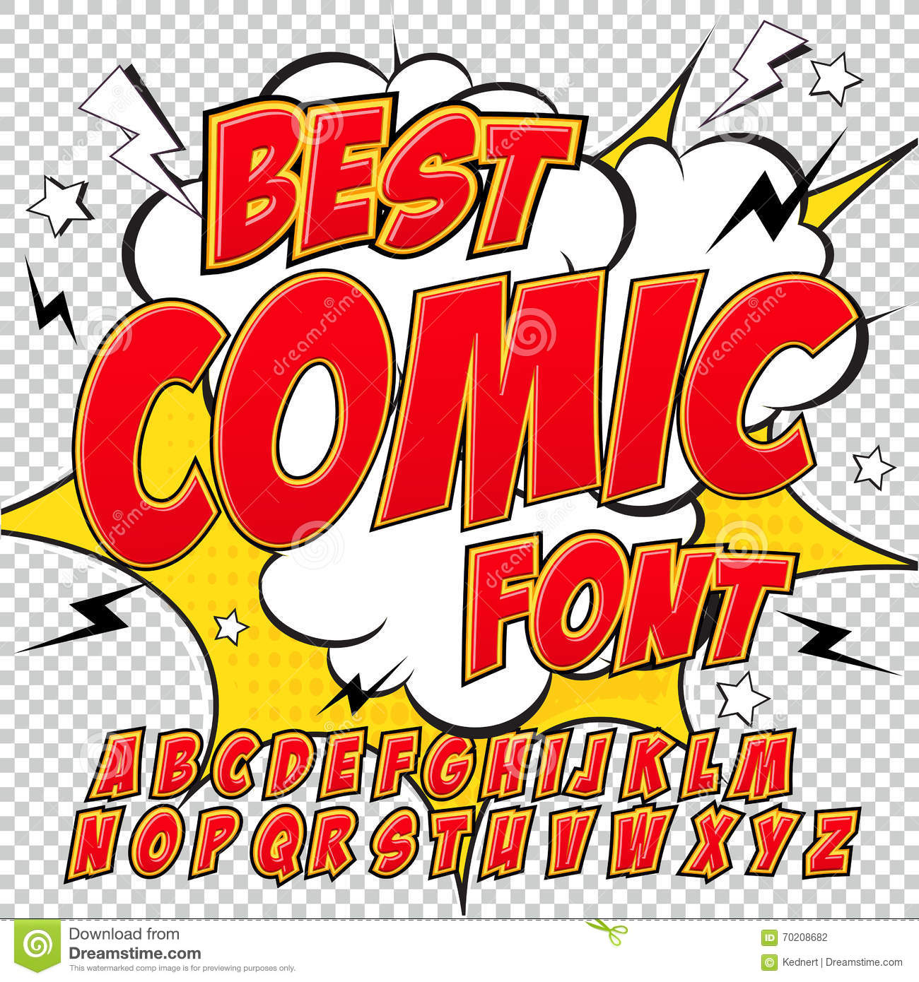creative high detail comic font alphabet in the red style of comics