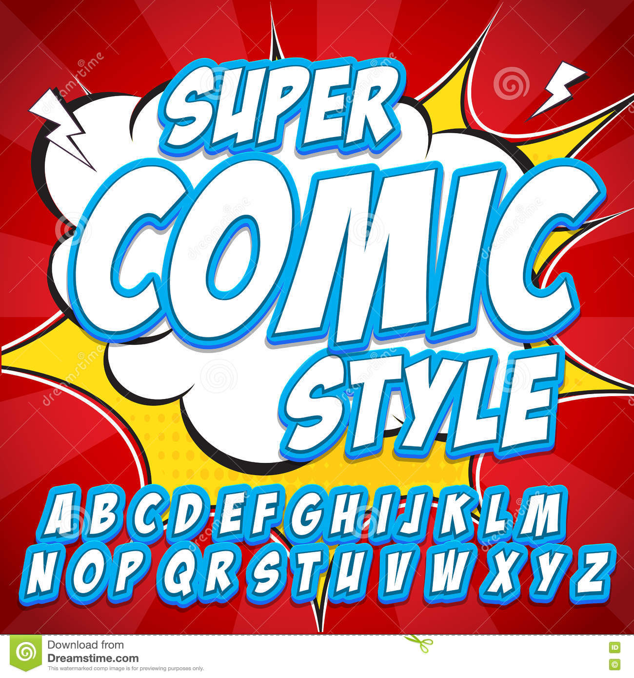 Famoso Creative High Detail Comic Font. Alphabet In Style Of Comics, Pop  LY75