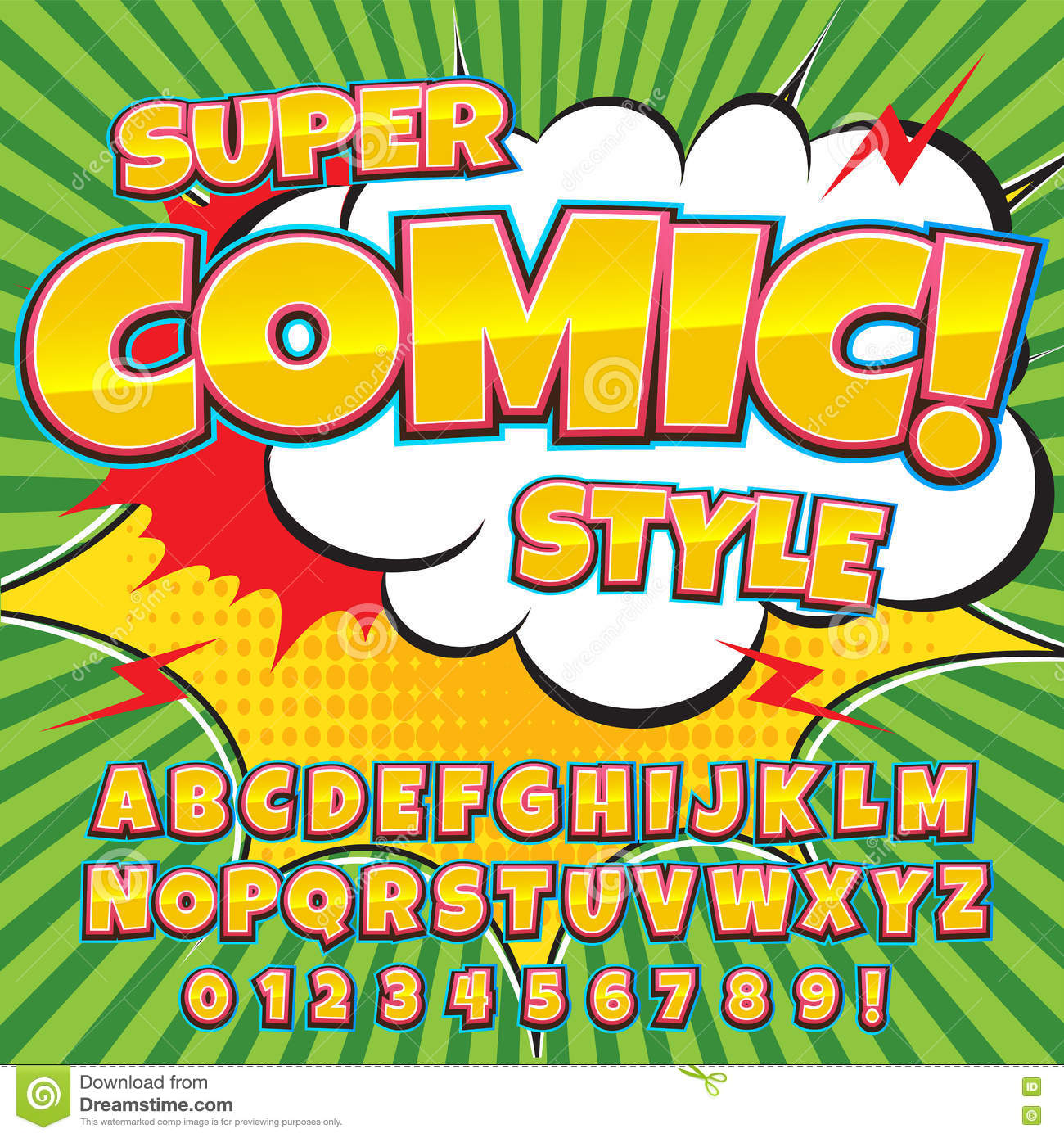 Cartoon Characters 8 Letters : Creative high detail comic font. alphabet in the style of comics