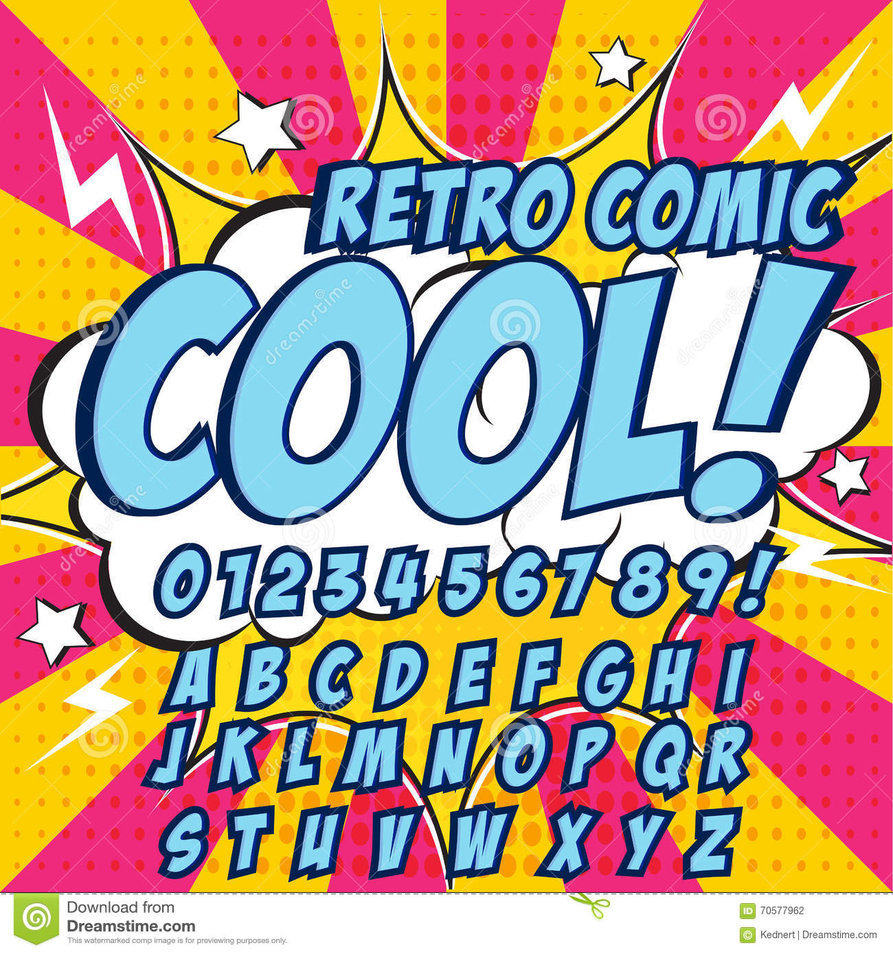 Famoso Creative High Detail Comic Font. Blue Color Hero Style Of Comics  GB29