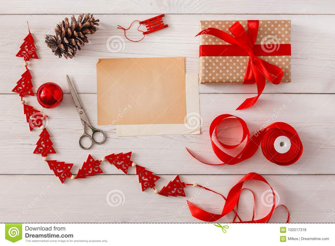handmade tools for making christmas present in box stock photo image