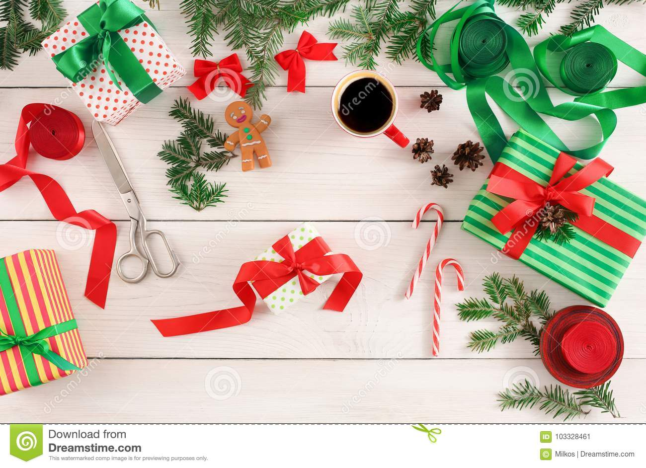 Creative Hobby Making Christmas Presents Top View Stock Image