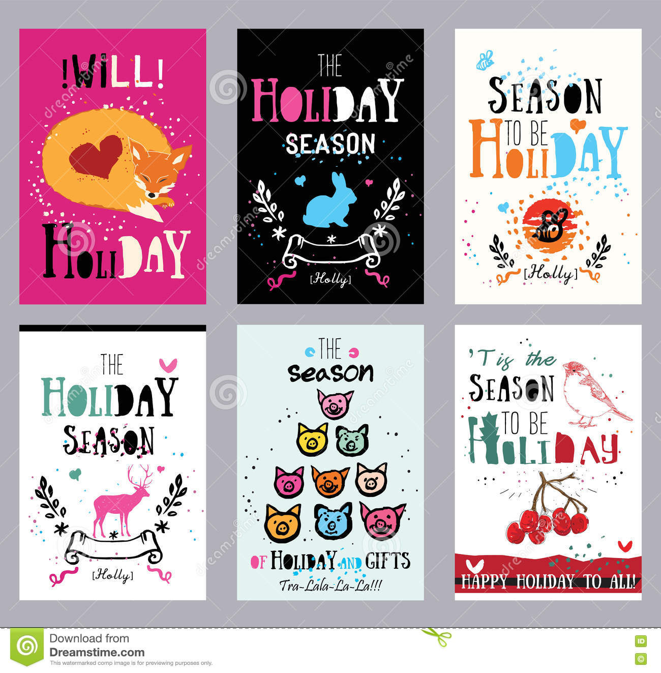 Creative Holiday Cards, Illustrations And Prints. Stock Vector ...