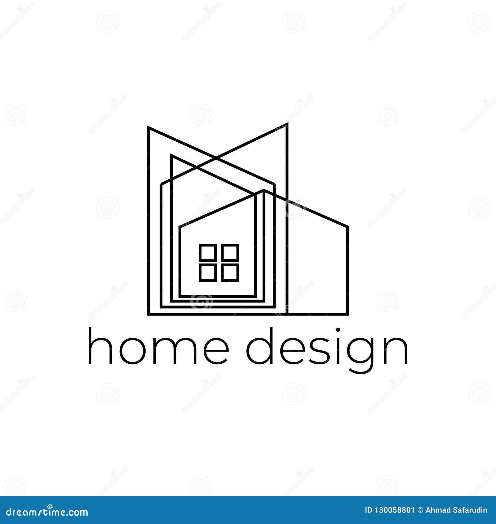 Creative Home Design Logo With Abstract Line Stock Vector ...