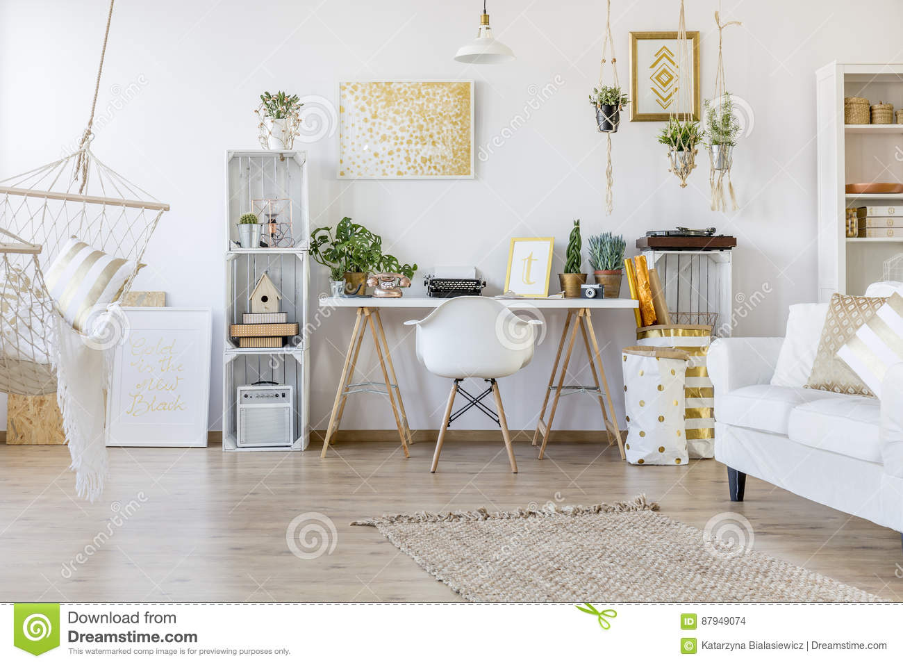 Download Creative Home Office Stock Photo. Image Of Indoors, Date   87949074