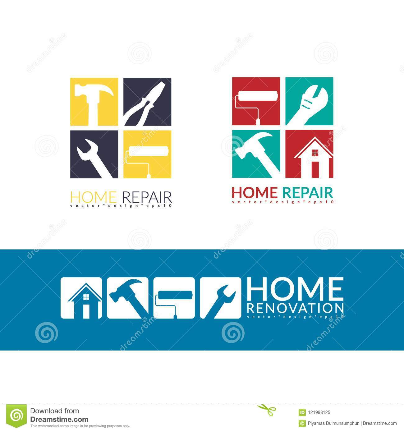 Creative Home Repair Concept Logo Design Template Isolated