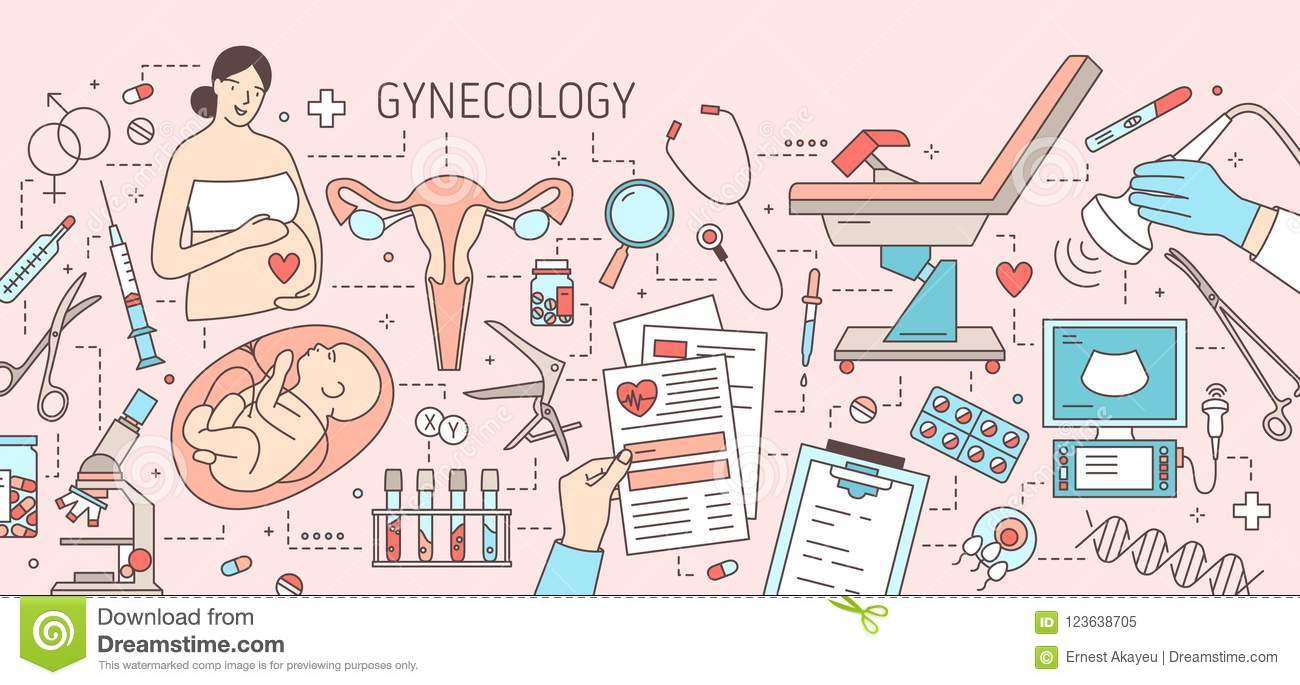 Creative Horizontal Banner With Pregnant Woman Baby In Womb Uterus