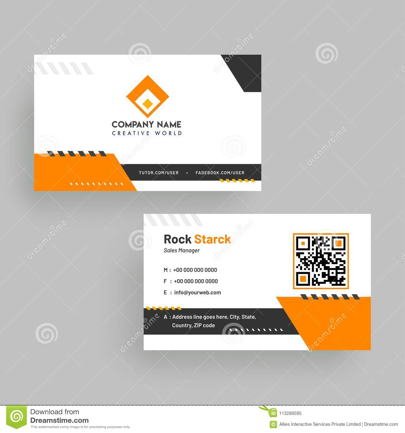 download horizontal business card with front and back presentation stock illustration illustration of front