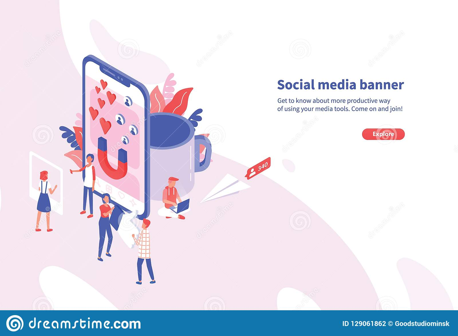 Creative horizontal web banner template with tiny people and giant smartphone. Social media and network tools for