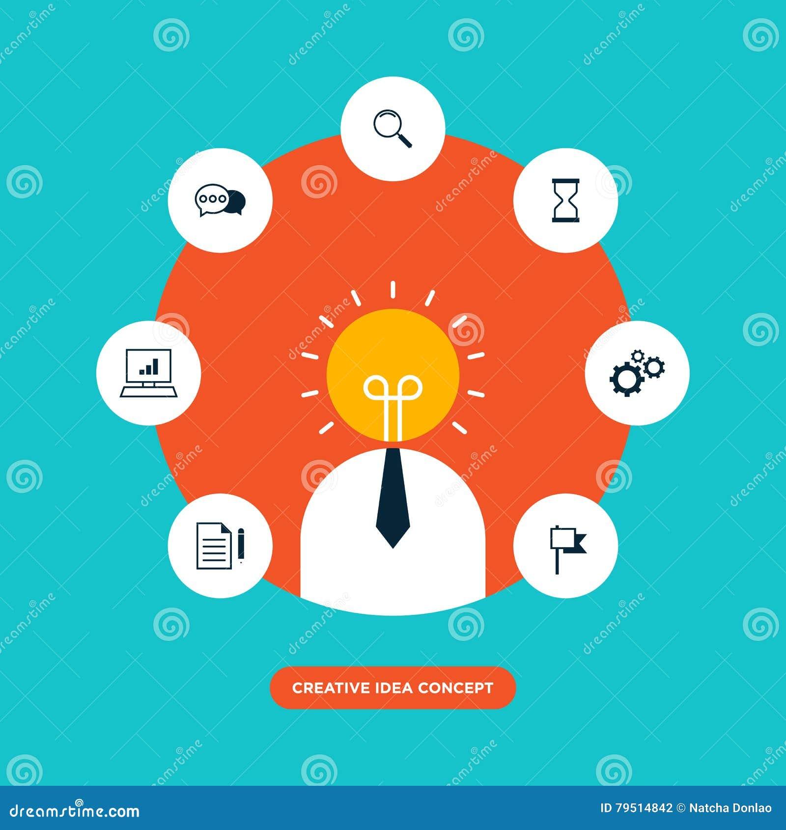 Creative Idea Concept Inspiration Process Flat Design Illustration