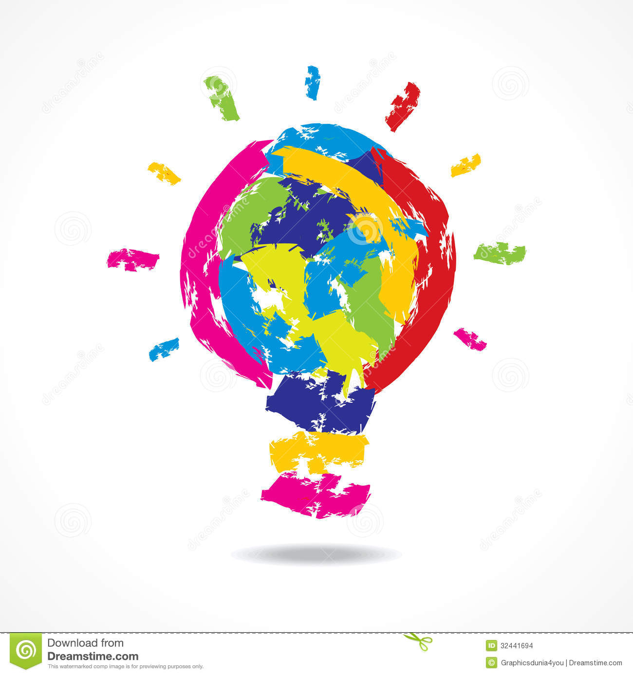 Creative Idea Concept With Painted Bulb Stock Images