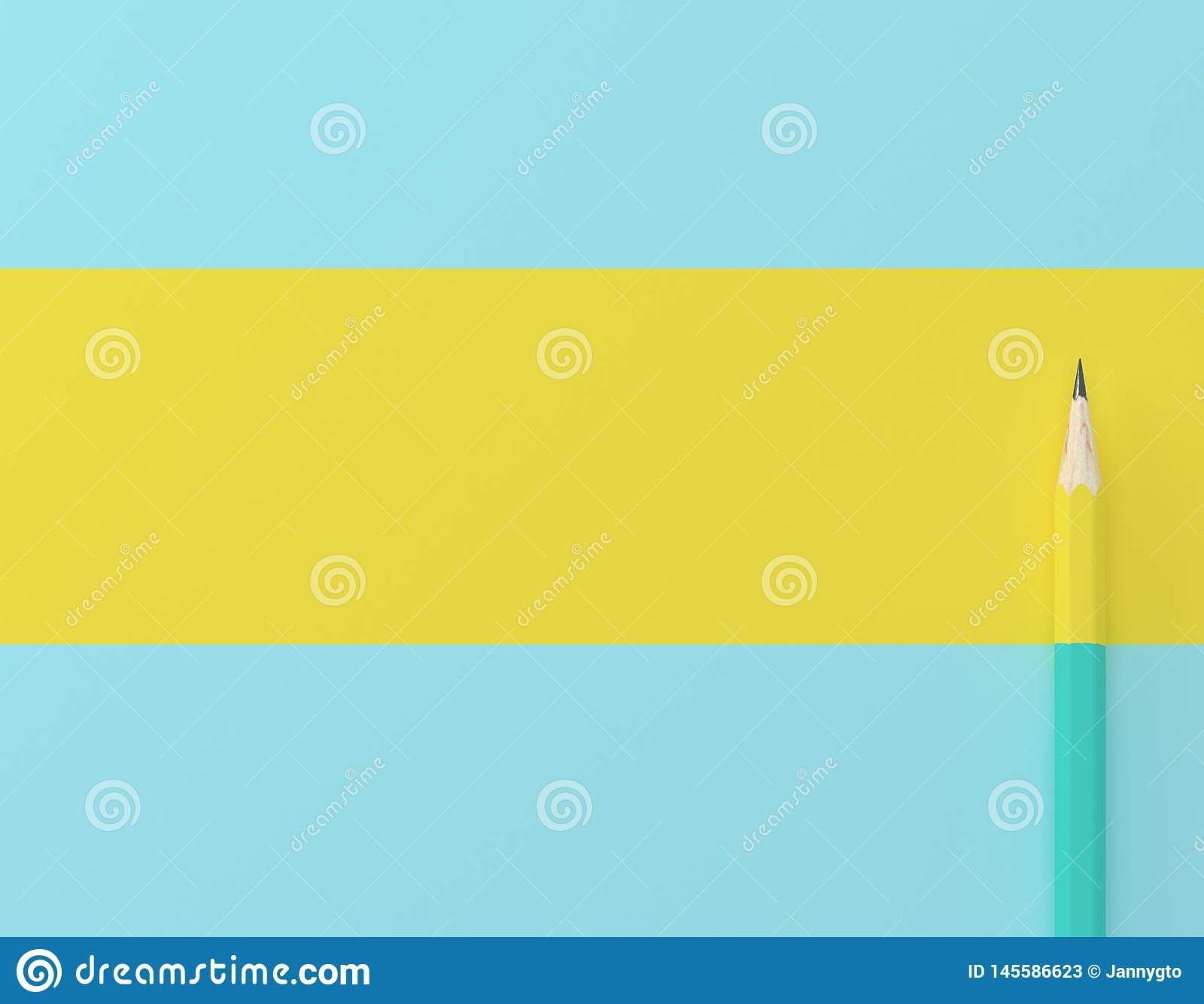 Creative idea layout made of yellow pencil contrast blue pastel background. Minimal template with copy space by top view.