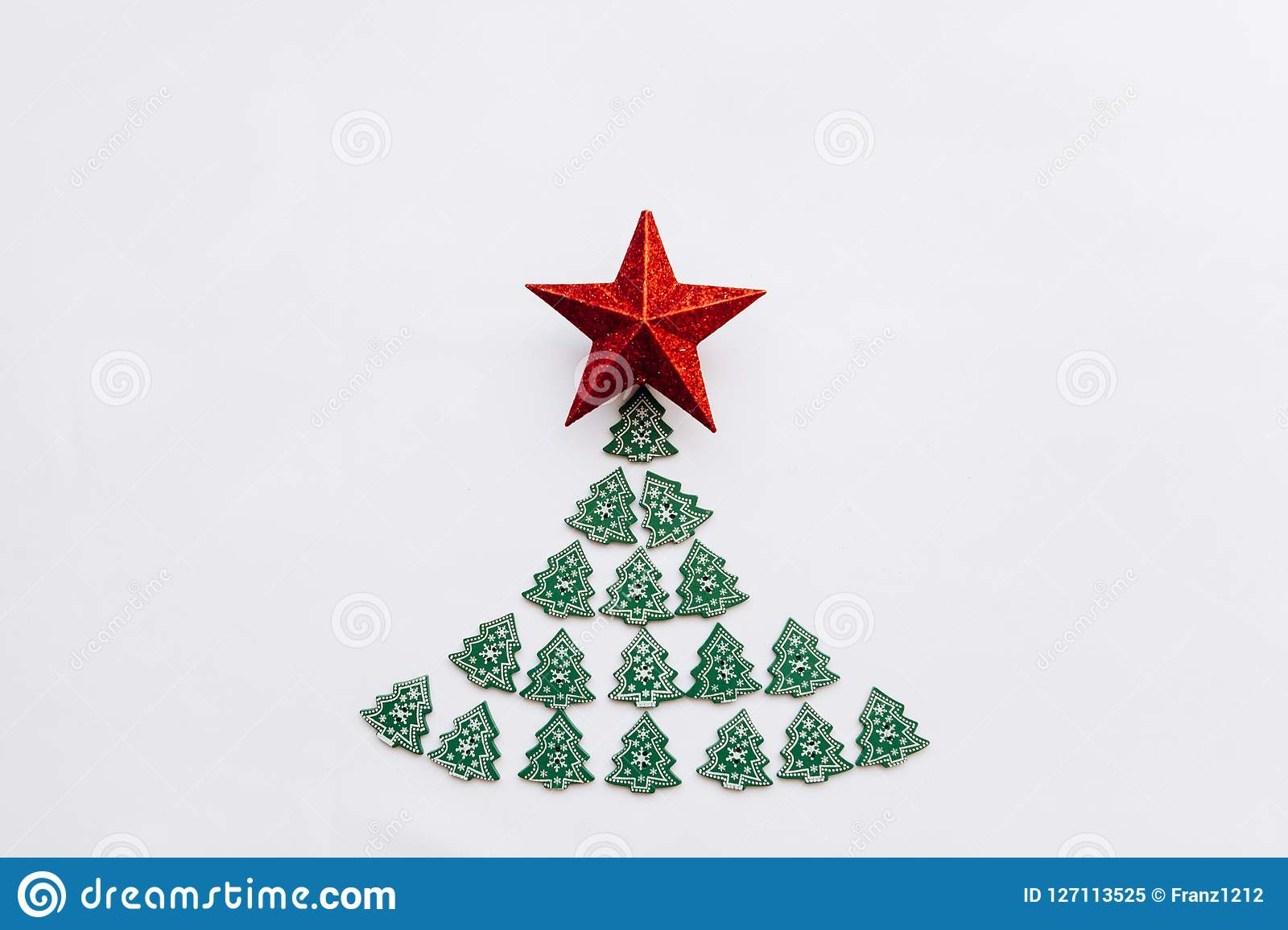 Christmas Tree From Other Small Wooden Christmas Trees And A Star On Top Stock Image Image Of Event Concept 127113525