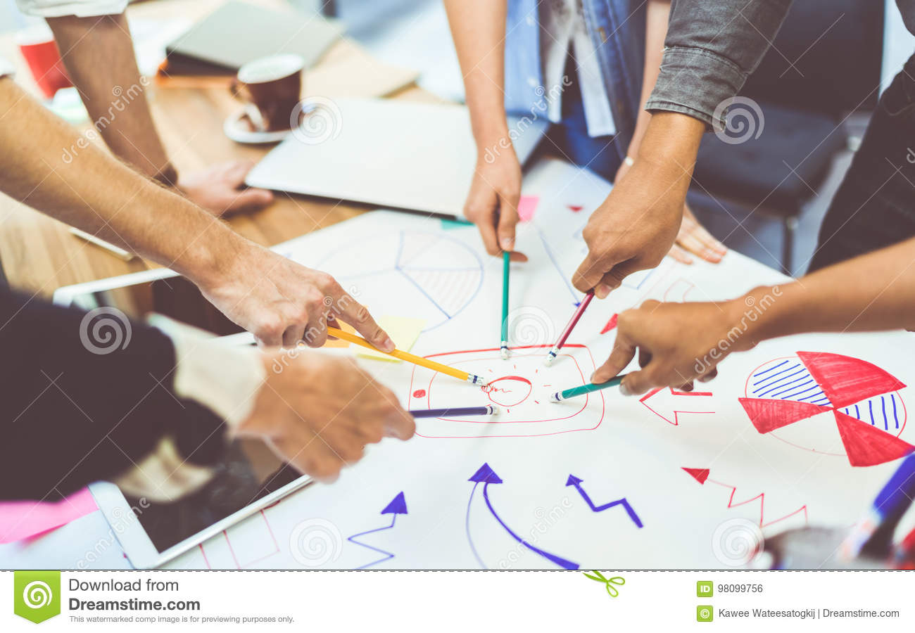 Creative idea teamwork concept. Group of multiethnic diverse team, business partner, or college students in project meeting