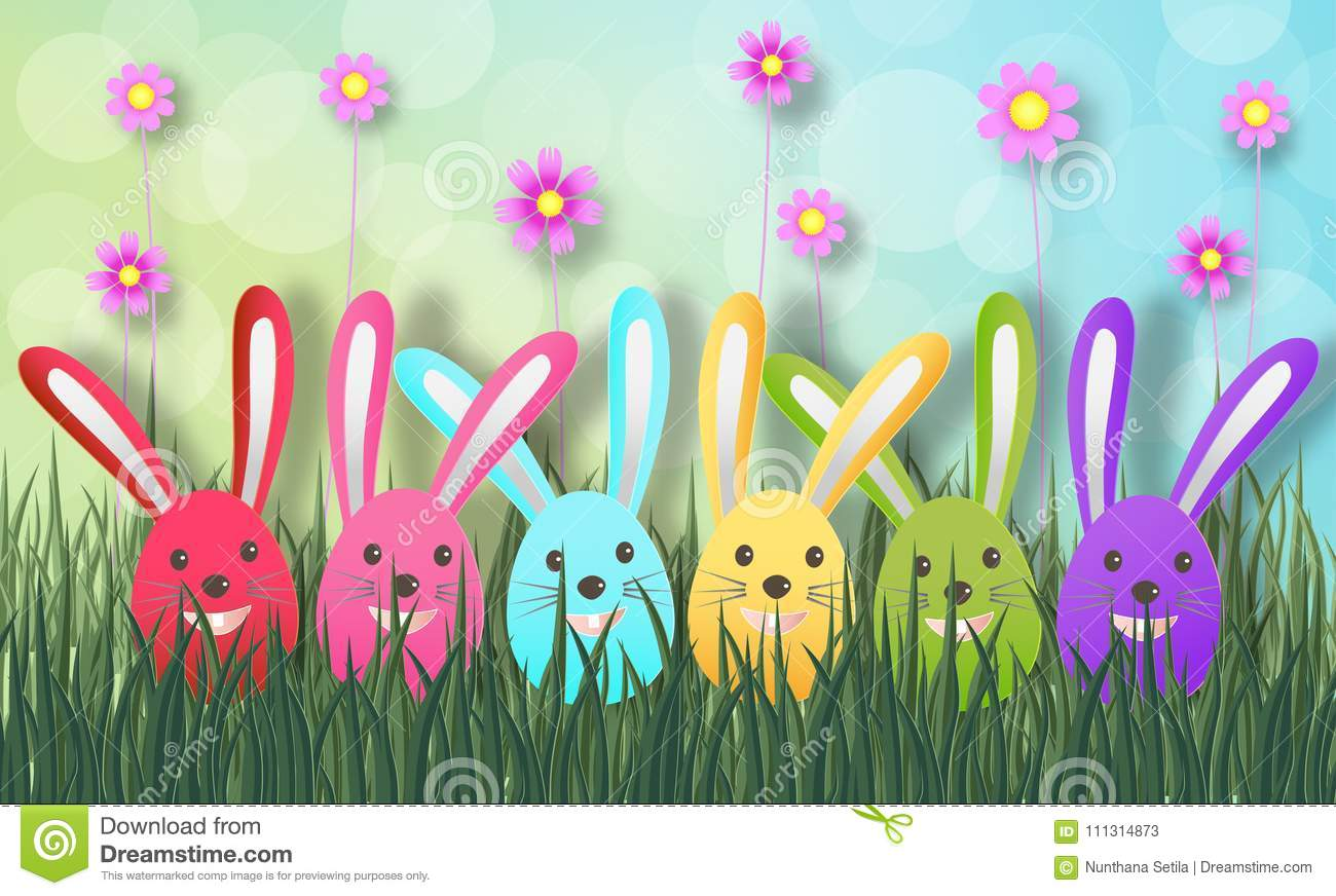 Creative Ideas Of Happy Easter Day With Colorful Egg And Rabbit