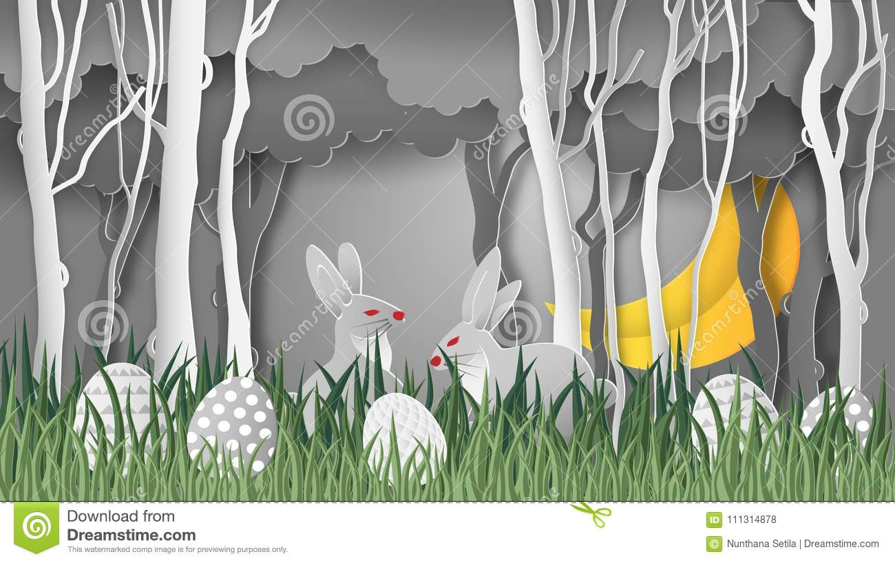 Creative Ideas Of Happy Easter Day Egg And Rabbit Cute In Grass And