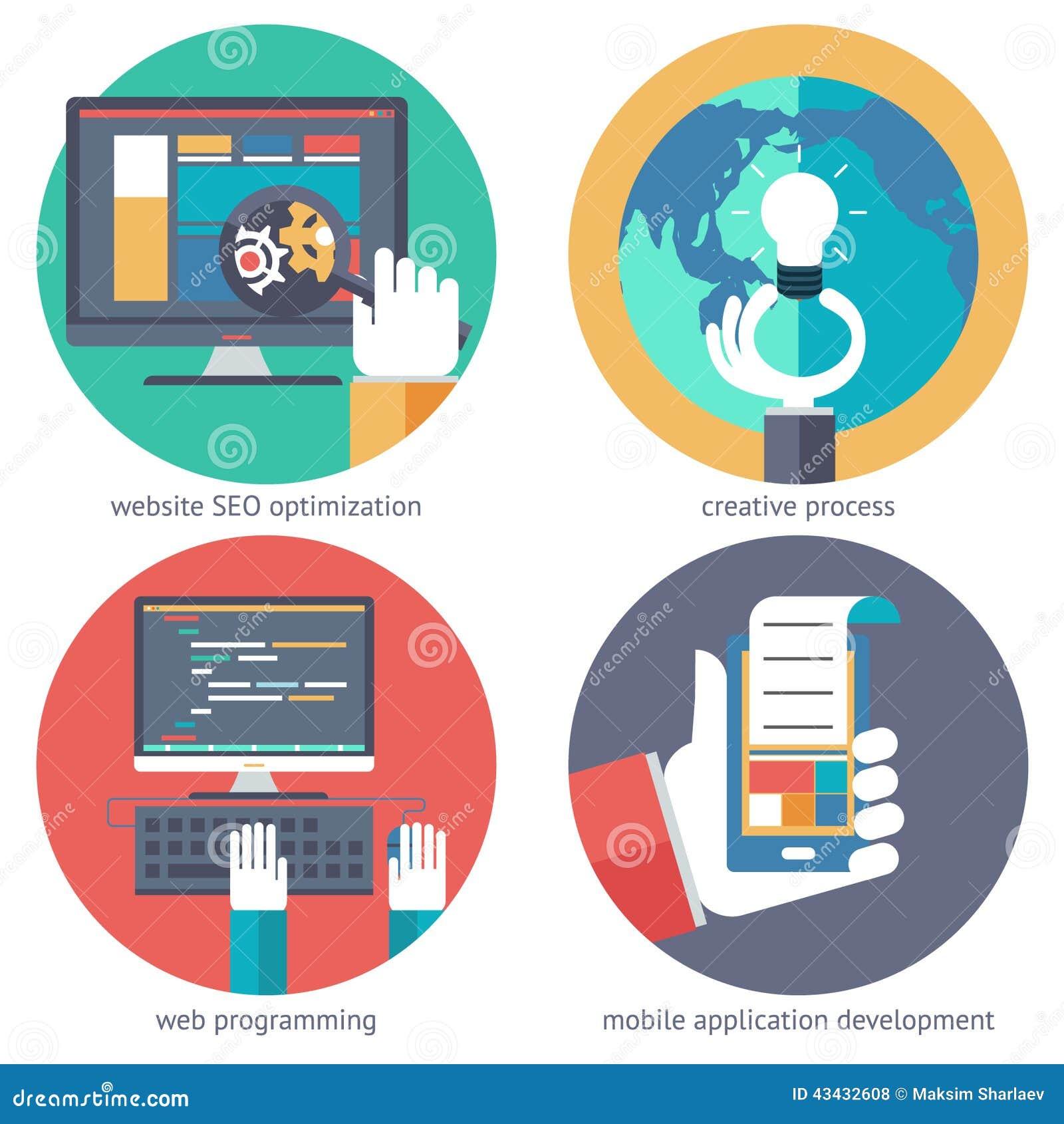 creative ideas web programming design mobile apps seo