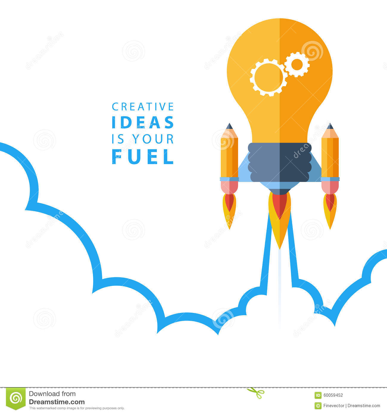 Creative Ideas Is Your Fuel. Flat Design Colorful Vector