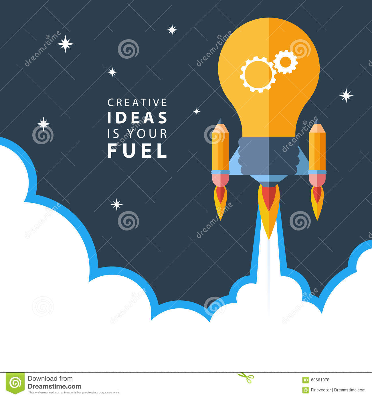 Creative ideas is your fuel flat design colorful vector for New flat design ideas