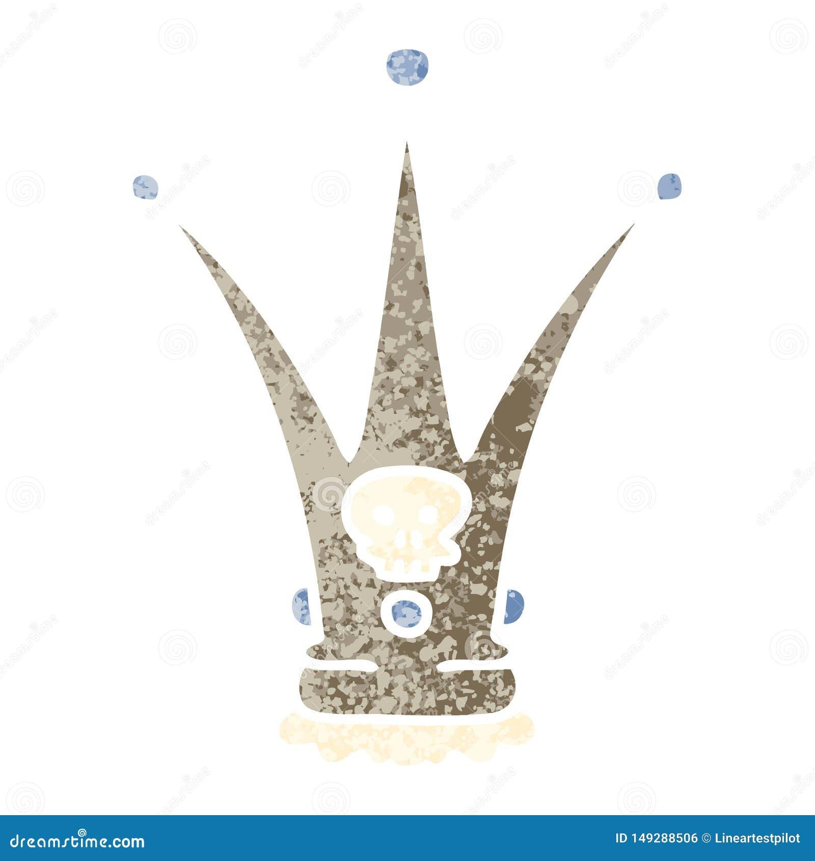 quirky retro illustration style cartoon death crown