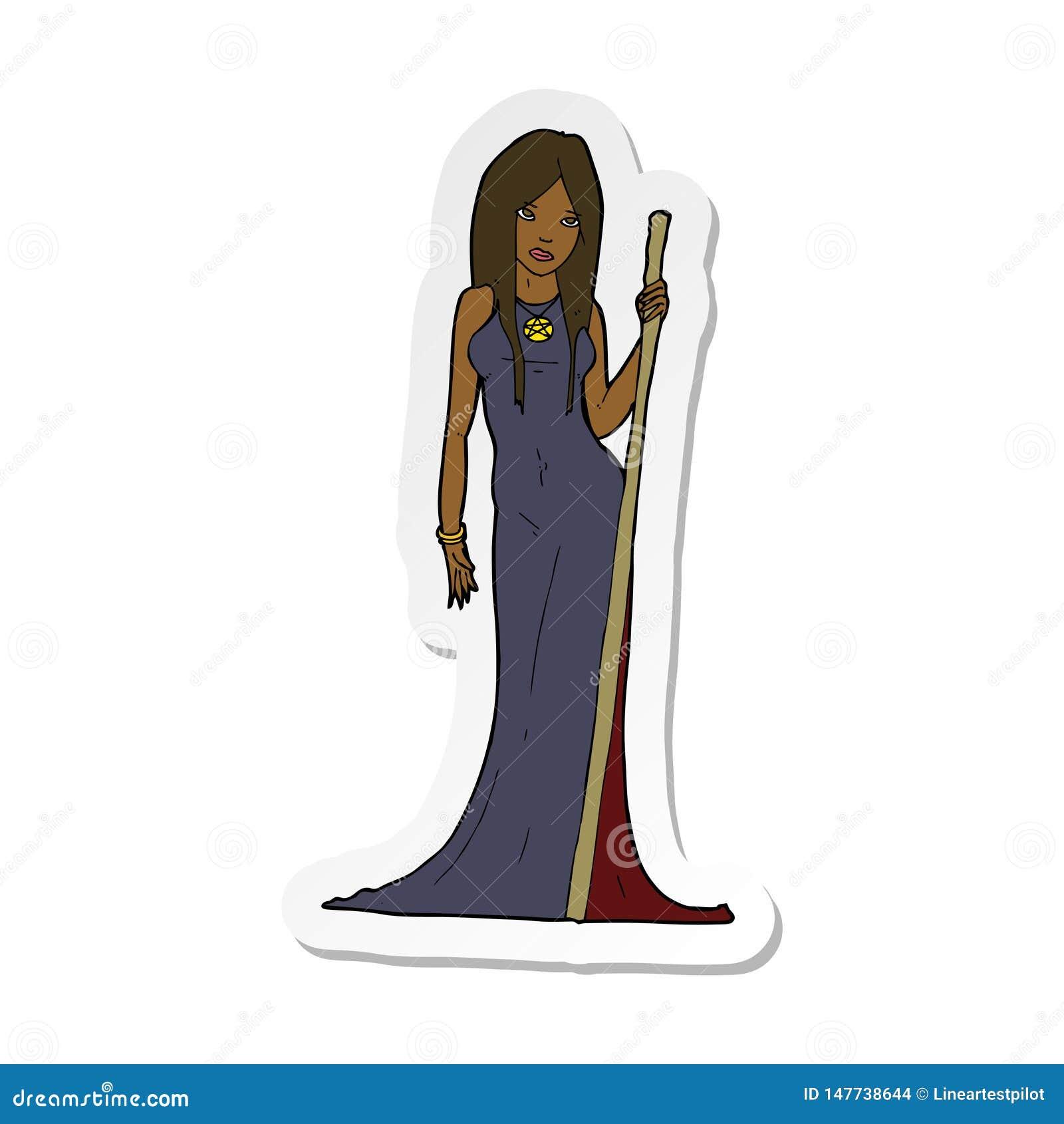 sticker of a cartoon sorceress