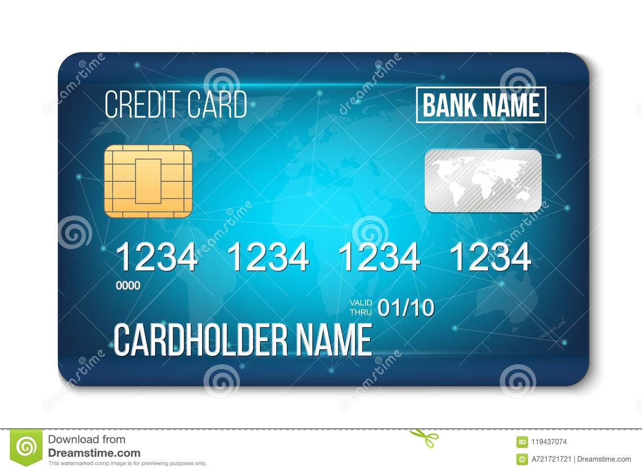 creative illustration of bank plastic credit card set isolated on