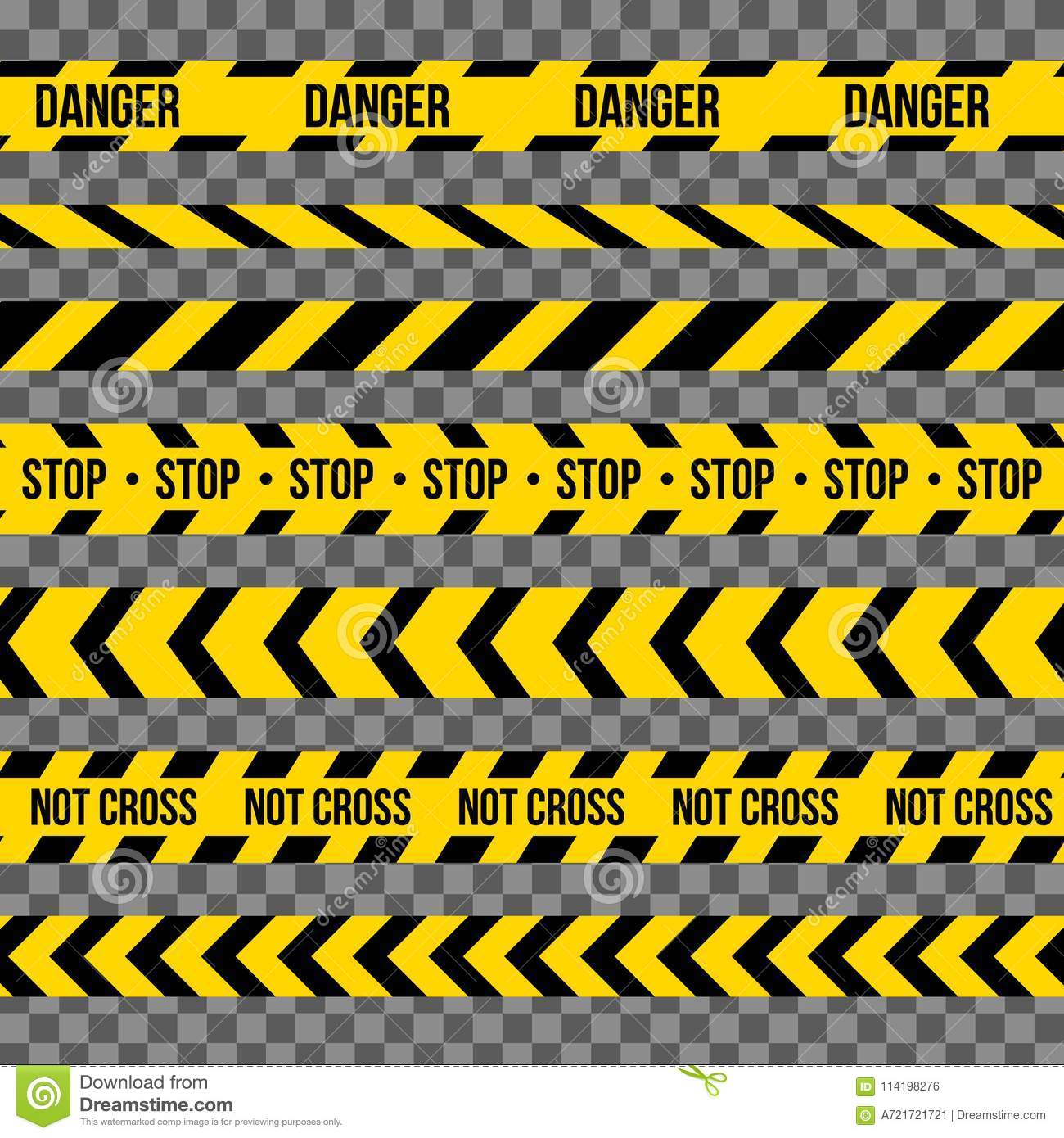 Creative illustration of black and yellow police stripe border. Set of danger caution seamless tapes. Art design line of cr