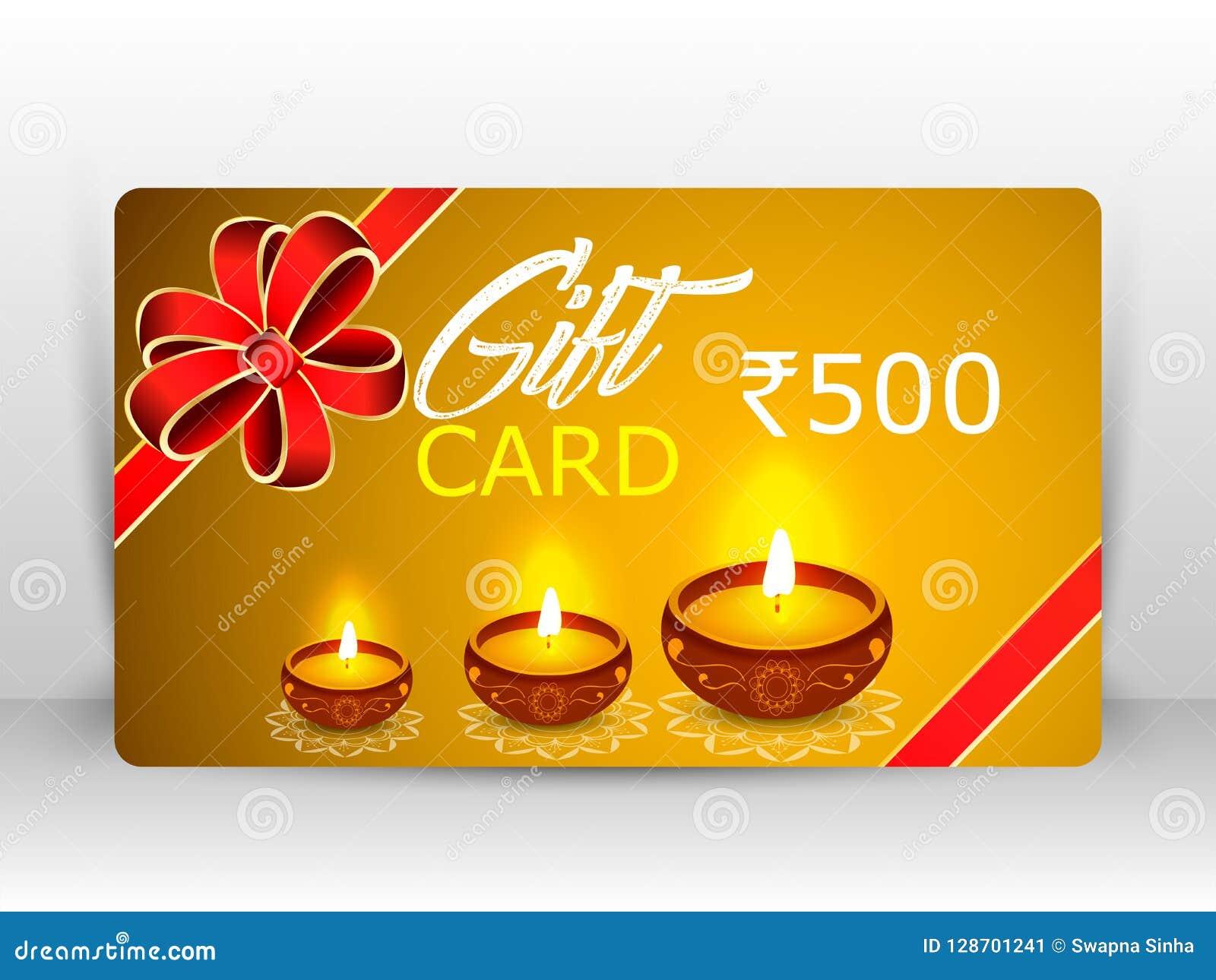 Creative illustration of burning diya with fireworks, diwali gift card