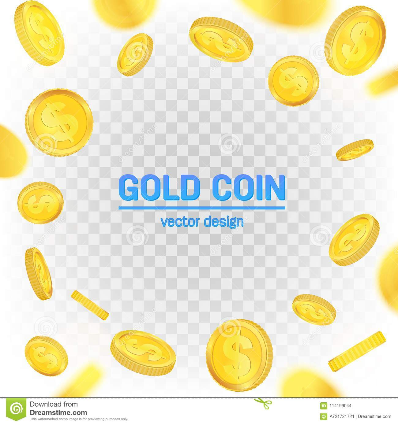 Download Creative Illustration Of 3d Gold Coins Floating In Different Perspective On Transparent Background