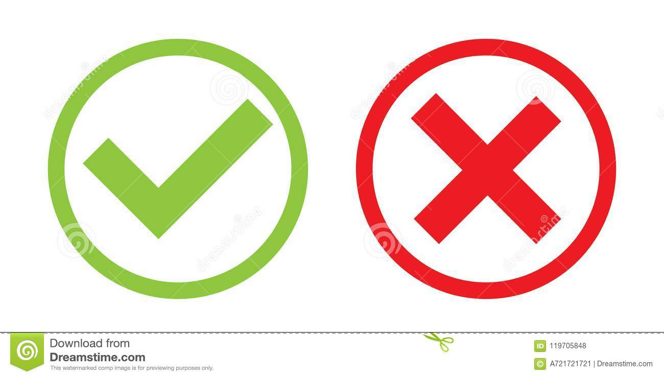 creative illustration of green tick red cross isolated on