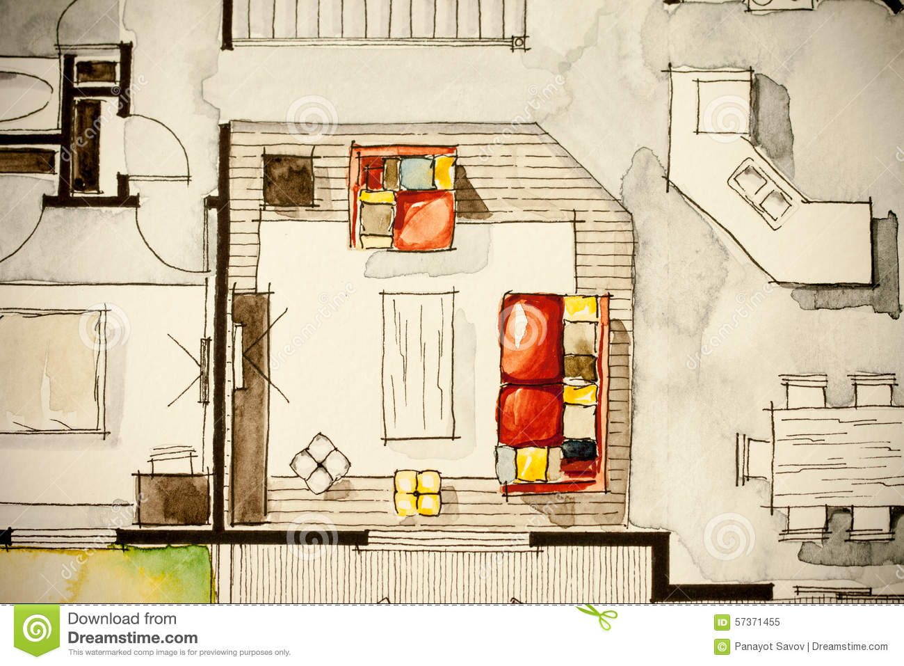 Creative illustration of house living room stock for Living room design floor plan