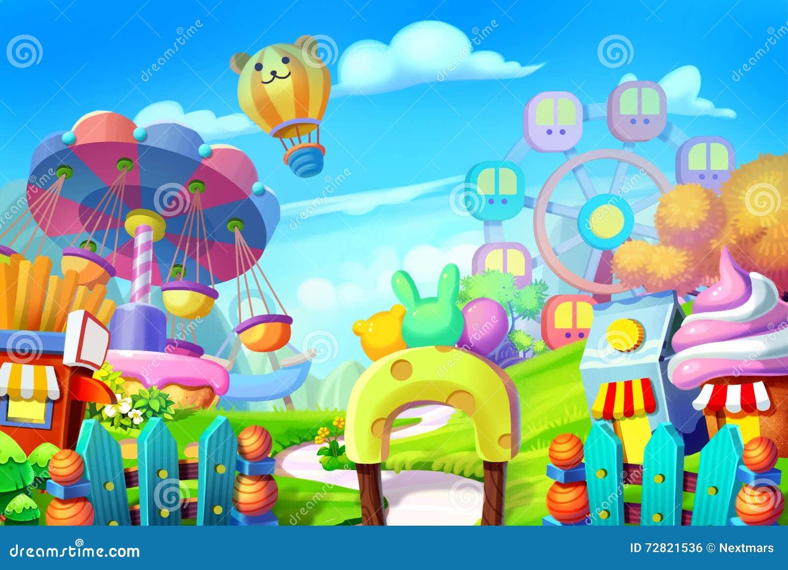 Creative Illustration and Innovative Art: Background Set: Colorful Playground, Amusement Park.