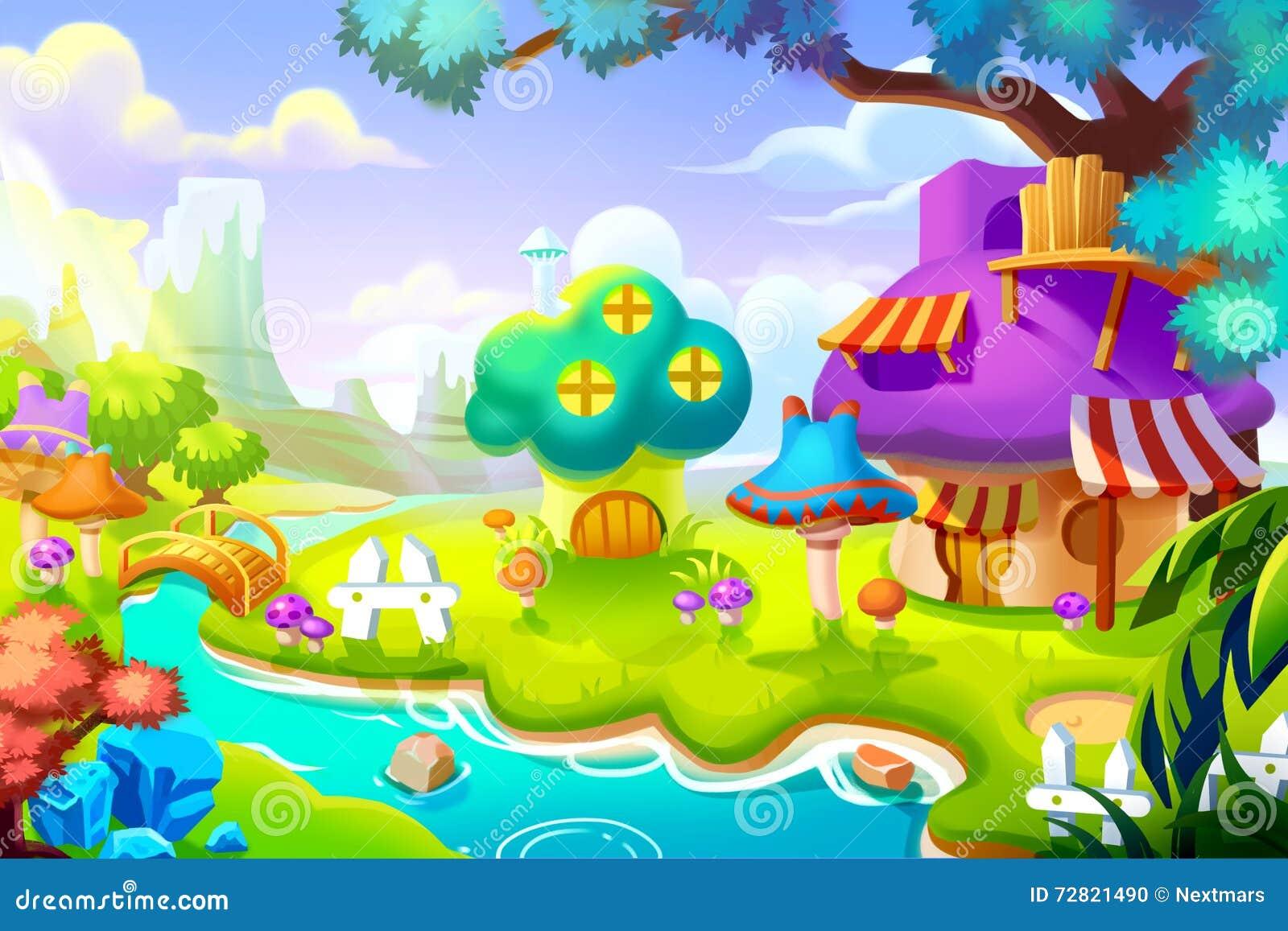 Stock Illustration Creative Illustration Innovative Art Forest House Colorful Nature Land Realistic Fantastic Cartoon Style Artwork Scene Image72821490 on 3d Home Design 7 Sweet –