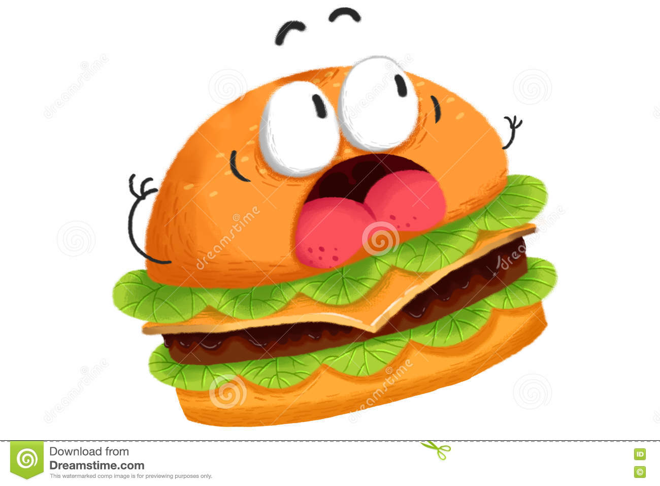 Creative Illustration And Innovative Art Frightened Hamburger