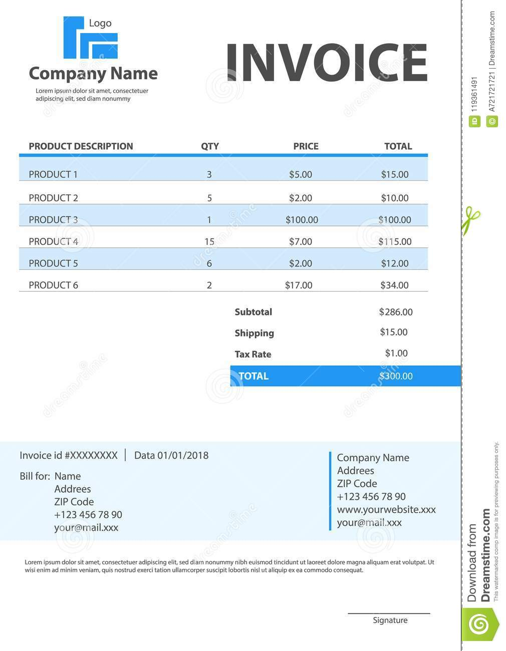 Creative Illustration Of Invoice Form Template For Your Billing