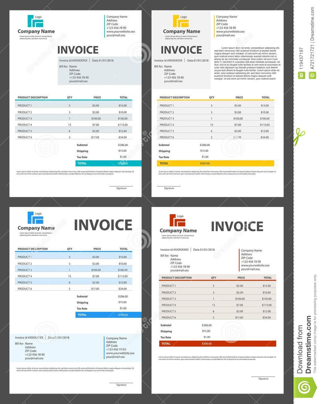 Creative illustration of invoice form template for your billing creative illustration of invoice form template for your billing isolated on transparent background customizable business maxwellsz