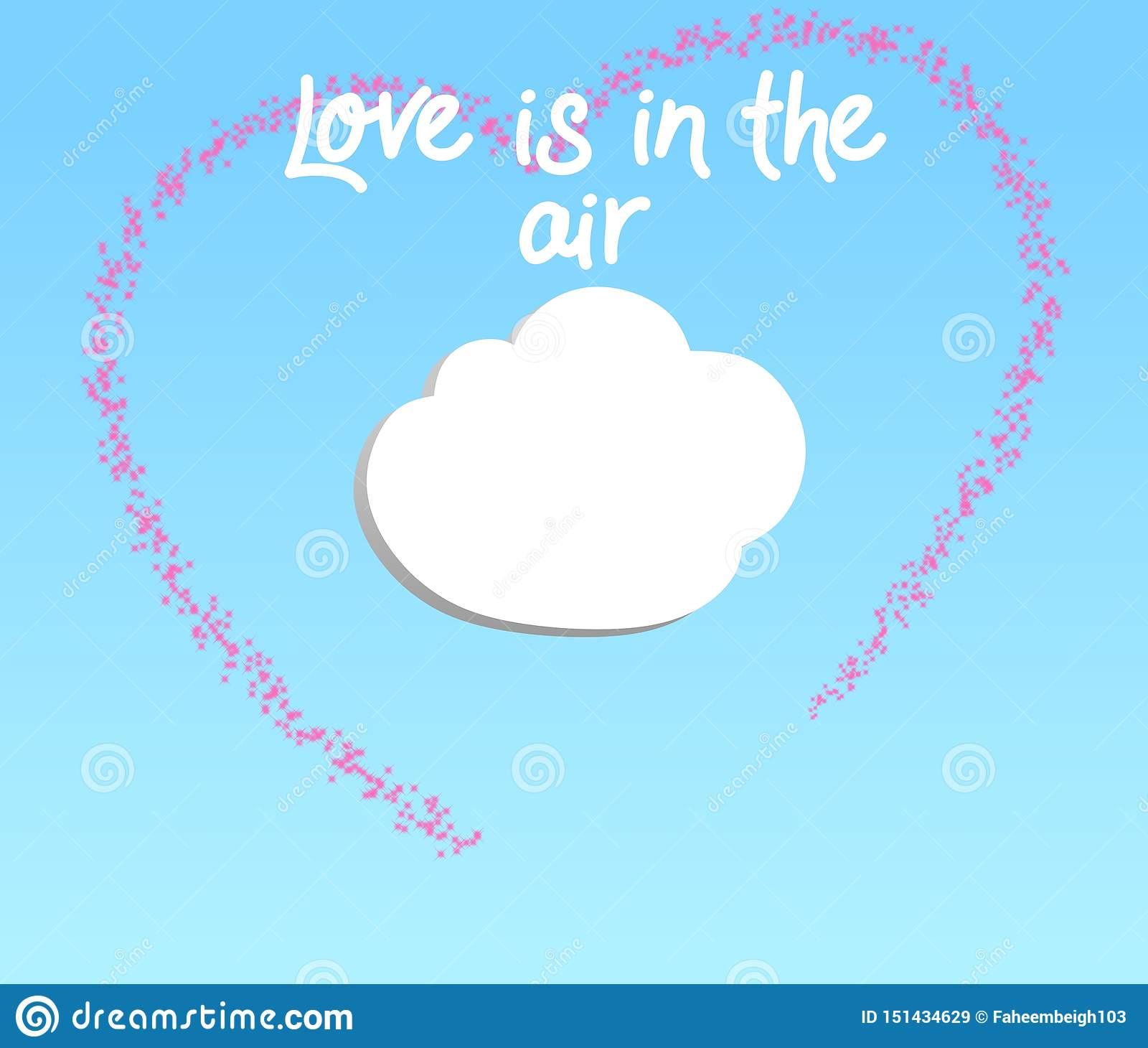 Creative illustration of Love is in the air on a gradient sky blue background.