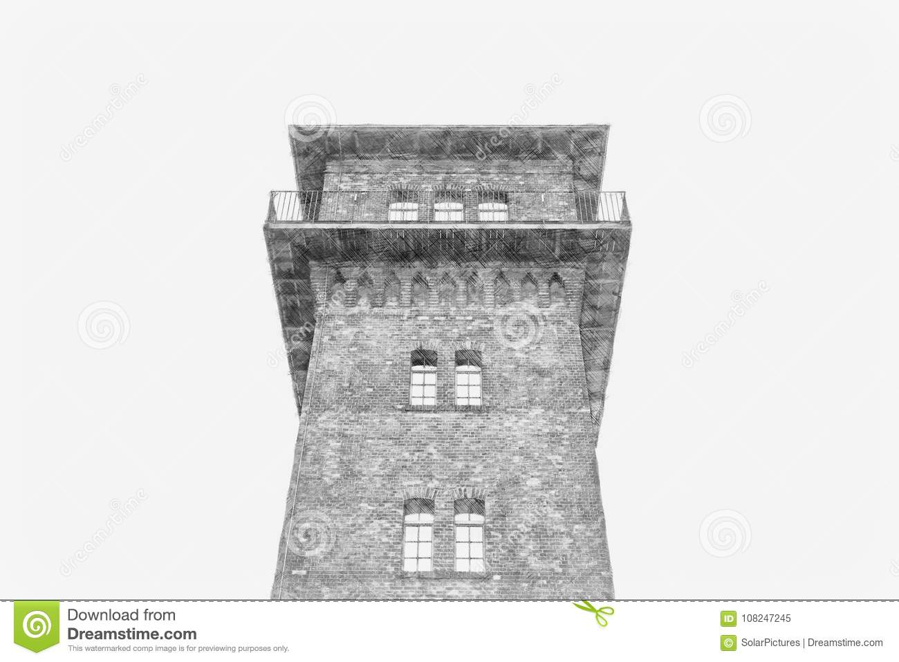 A pencil sketch of an old brick watch tower
