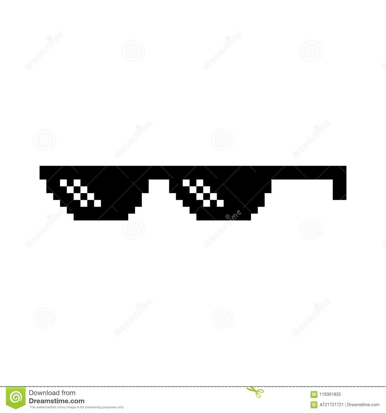 ecd21f62 Creative illustration of pixel glasses of thug life meme isolated on  transparent background. Ghetto lifestyle culture art design. Mock up  template.