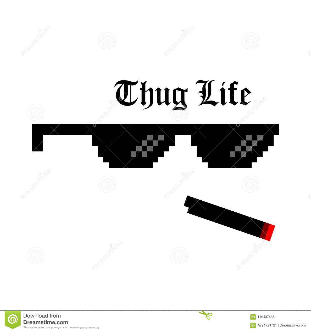 Creative Illustration Of Pixel Glasses Of Thug Life Meme