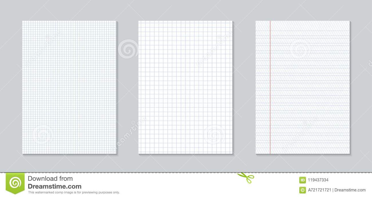 Creative Illustration Of Realistic Square, Lined Paper Blank